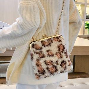 Women's Handbag Cross-Body Pink Leopard Woolly